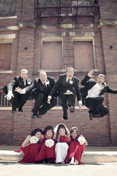 get creative with the wedding party shots