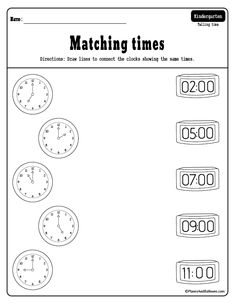 Fun telling time to the hour worksheets for preschool and kindergarten - telling time activities printables. Telling Time Activities, Teaching Time, Telling Time Worksheet, Telling Time For Kids, Teaching Spanish, Free Kindergarten Worksheets, Free Printable Worksheets, Time Worksheets Grade 3, Math Worksheets For Kindergarten