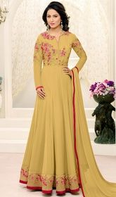 Mehendi Color Georgette Embroidered Long Anarkali Suit #longflaredanarkali #girlsanarkali Make others envy you with this mehendi color georgette embroidered long Anarkali suit. The ethnic lace, resham and stones work on the attire adds a sign of splendor statement with a look. USD $ 101 (Around £ 70 & Euro 77)