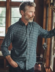neveraway Mens Plaid Plus Cotton Tops T-Shirts Slim Fitting Simple Dress Shirt Three S