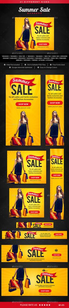 Buy Summer Sale Banners by Hyov on GraphicRiver. Promote your Products and services related to any Summer Sale with this great looking Banner Set. Banner Sample, Banner Template, Email Design, Ad Design, Rollup Banner, Fashion Banner, Billboard Design, Facebook Banner, Social Media Banner