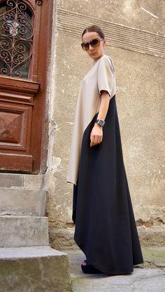 Nueva colección Maxi vestido /Beige y negro asimétrico por Aakasha