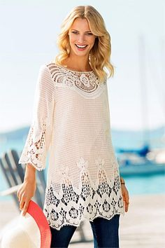 Sleeved Shift Dresses Casual Clothing For Summer  - Capture Crochet Tunic Summer Tops - EziBuy Australia 100% Cotton #fashion #style