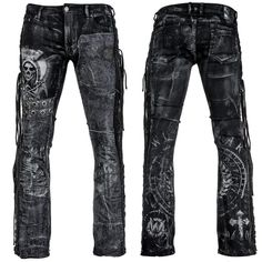 Mens rock clothing by Wornstar Clothing ready for street and stage. Original rock clothes by Wornstar Clothing from Chicago USA. Rock Outfits, Emo Outfits, Fashion Outfits, Black Denim Pants, Distressed Black Jeans, Denim Jeans, Affliction Clothing, Denim Noir, Rockstar Jeans