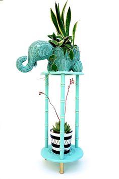 Vintage Wicker Elephant Planter / Basket    Boho Nursery Decor    Mint Turquoise Woven Rattan Animal Planter by ELECTRICmarigold on Etsy