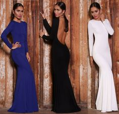 [ $22.00 ] SEXY LONG-SLEEVED BACKLESS DRESS GBD57DH