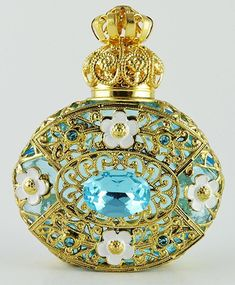 Vintage Blue Perfume Bottle Gold Tone Filigree Faceted Blue Dazzling Crystal