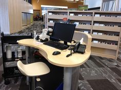 31 New Library Circulation Desk Library Furniture Design, Library Design, Library Ideas, Future Library, Dream Library, Library Signage, Reference Desk, Library Services, Classroom Design
