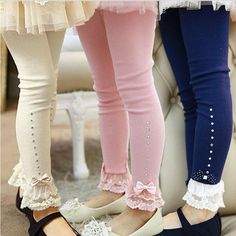 Cheap leggings kids, Buy Quality kids leggings directly from China kids cotton leggings Suppliers: Retail to children girls spring fall pink blue beige lace trim ruffle rhinestone leggings kids princess cotton legging Cotton Leggings, Lace Leggings, Leggings Are Not Pants, Leggings Store, Cheap Leggings, Lace Pants, Velvet Leggings, Printed Leggings, Baby Girl Leggings