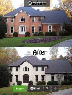 Brick House- before and after painted white