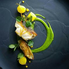 Sea bass, watercress, braised endive, saffron and citrus condiments by Nicobass lavie Food Design, Assiette Design, Gourmet Recipes, Cooking Recipes, Michelin Star Food, Plate Presentation, Sea Bass, Food Decoration, Tempura