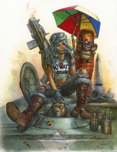 Tank Girl by Greg Staples 🇬🇧 Tank Girl Comic, Comic Book Artists, Comic Books, Cyberpunk Art, Female Character Design, Magic Art, Science Fiction Art, Fantasy Girl, Sci Fi Art