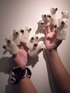 needle-felted polar bear finger puppets