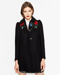 Image 2 of COAT WITH EMBROIDERED YOKE from Zara