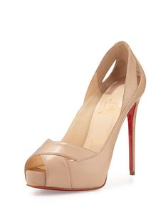Christian Louboutin Academa Leather Cutout Red Sole Pump, Nude