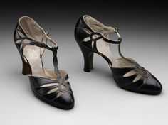Black leather T-bar shoes, early 1930s. American.