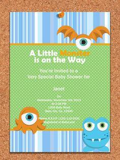 PRINTABLE INVITATION, Monster Baby Shower Invitation , Little Monster Invite , Monster Baby Shower