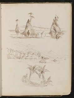 Three studies, upper is a study of three rocky islands, centre is a study of watery landscape with people and boats, lower is a study of palm trees.  Pen and ink sketch by Elizabeth Thompson (later Lady Butler) from 'Scenes in Italy, 1860-61', a sketchbook of pencil and pen and ink drawings, 1860-1861.