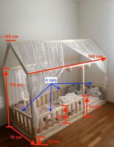 Toddler house bed Montessori floor bed teepee bed kid bed wood bed children home waldorf toy children bed kids bedroom floor bed Toddler Floor Bed, Toddler House Bed, Diy Toddler Bed, Toddler Rooms, Kids House, Toddler Teepee, Teepee Bed, Diy Bed, Baby Room Decor