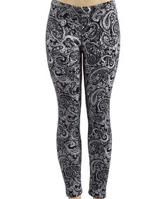 Loving this Black & White Paisley Leggings on #zulily! #zulilyfinds