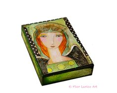 ••  Looking After You - ACEO Giclee print mounted on Wood (2.5 x 3.5 inches) Folk Art  by FLOR LARIOS