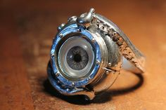 Evil Eye Sterling Tentacle Ring, Blue Human Eye, (made in NYC) sizes 4-11. $90.00, via Etsy.