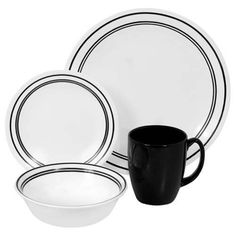 16-Piece-Dinnerware-Set-Service-For-4-Classic-Cafe-Black-Dishes-Dining-Dinner