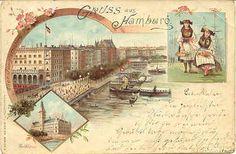 """ Gruss aus ( greetings From ) Hamburg, Germany 1898 "" Karodens Vintage Post Cards."