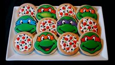 Teenage Mutant Ninja Turtles Cookies by CaseysConfections on Etsy. Would be cute hidden in the guest thank you boxes! Ninja Turtle Party, Ninja Turtles, Ninja Turtle Cookies, Ninja Party, Ninja Turtle Birthday Cake, Turtle Cakes, Turtle Birthday Parties, 5th Birthday, Birthday Ideas