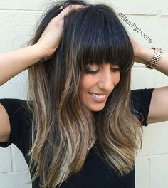 Dark, cool ombré w bangs