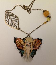 Collana fatina farfallina in fimo di Julygia su Etsy