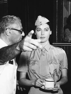 AVA GARDNER filming Bhowani Junction with director George Cukor