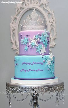 Write Name On Crown Princess Elsa Name Birthday Cake . This is the best idea to wish anyone online. Make Elsa Birthday Meme with name on birthday cake. It is very easy to decorate name on this birthday cake. Get one and bring smile on the faces of your beloved ones. Send this amazing birthday cake by writing name of your friends, family, relatives & lover. Find this cake by searching the terms cake for birthday, frozen birthday cake , birthday name cake , happy birthday wishes for Elsa, name…