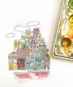 Always dreaming of little cities and quaint spaces 🏙  .  .  #city #doodle #watercolorpainting #watercolor #fun #color #art #handmadefont  #craft #illustration