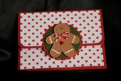 Gingerbread Boy Gift Card Holder  Greeting Card  by PaperKayper, $3.50