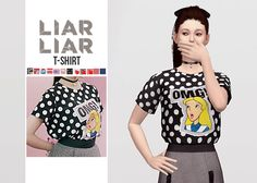 Liar Liar T-Shirt• New mesh / EA mesh edit • Category: top (women) • Age: teen / young adult / adult / elder • 12 swatches • Suggested by…