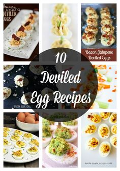 10 Deviled Egg Recipes perfect for after the Easter holiday Yummy Appetizers, Appetizers For Party, Appetizer Recipes, Snack Recipes, Cooking Recipes, Appetizer Ideas, Snacks, Easy Recipes, Easy Summer Meals