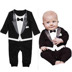 Cuz he's fancy. [Boy Baby Toddler Romper Outfit Jumpsuit Tuxedo Print Bowtie Overalls Clothes   eBay]