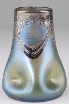 Loetz | Silver Overlay Art Glass Vase.