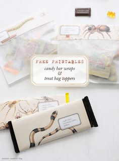 Free Printable Halloween Candy Bar Wraps + Treat Bag Toppers | Shared on Creature Comforts Blog