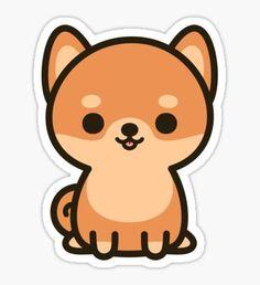 'Cute shiba inu' Sticker by peppermintpopuk Cute Easy Drawings, Cute Kawaii Drawings, Cute Animal Drawings, Stickers Kawaii, Cool Stickers, Printable Stickers, Kawaii Doodles, Cute Doodles, Shiba Inu