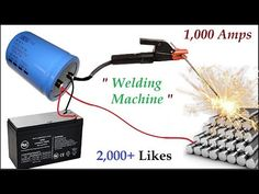 New Invention ! Make 1000 Amps Welding Machine using UPS Battery and Capacitor Bank Electronics Projects, Electronic Circuit Projects, Electrical Projects, Diy Electronics, Electronics Components, Diy Welding, Welding Projects, Welding Ideas, Metal Welding