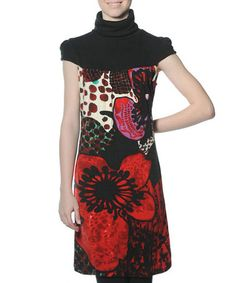Another great find on #zulily! Red & Black Floral Karissa Mock Neck Dress by smash! #zulilyfinds. Enhance an ensemble with the power of pattern. Crafted from a supple stretch blend, this dress boasts a lovely mock neck and stunning visual appeal. •95% polyester / 5% elastane •Machine wash; hang dry •Imported