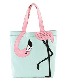 Another great find on #zulily! Mint & Pink Bending Flamingo Tote #zulilyfinds