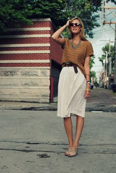 i love this. summery feel, but could ease into fall with some tights and boots.