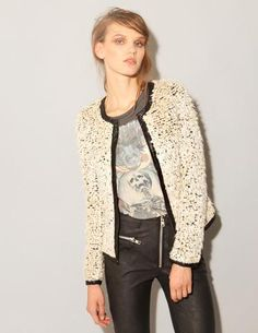 tough rocker outfit topped with feminine jacket. <3