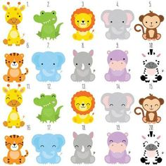 Clipart de animales bebé Safari / selva animales imágenes prediseñadas / imágenes prediseñadas de animales de zoológico por ClipArtisan