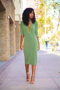 Embellished long sleeved midi dress