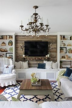 Rustic living room decor simple fall living room with pallet accent wall diy rustic living room decor Simple Living Room Decor, Fall Living Room, Cozy Living Rooms, Living Room No Fireplace, Tv On Wall Ideas Living Room, Living Room Accent Wall, Barn Living, Pallet Accent Wall, Accent Walls