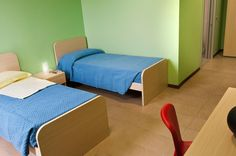 There are even a couple beds at the Ronald McDonald Family Room in Alessandria, Italy.